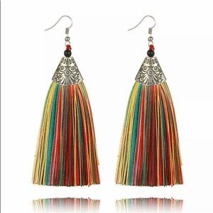 Gorgeous Multi Color Tassel Earrings with Silver